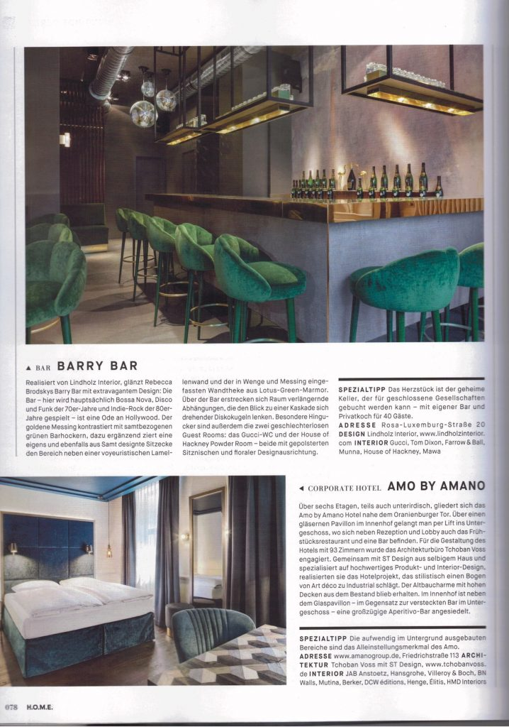Barry Bar Presse Clipping Lindholz Interior HOME Magazin
